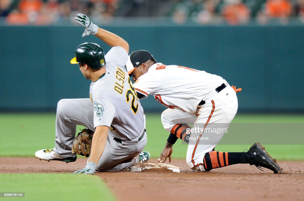 Matt Olson #28 of the Oakland Athletics is tagged out at second base in the eighth inning by Tim Beckham #1 of the Baltimore Orioles at Oriole Park at Camden Yards on August 21, 2017 in Baltimore, Maryland.