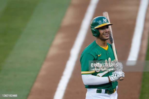 Matt Olson of the Oakland Athletics reacts after a strike in the bottom of the first inning against the Colorado Rockies at Oakland-Alameda County...