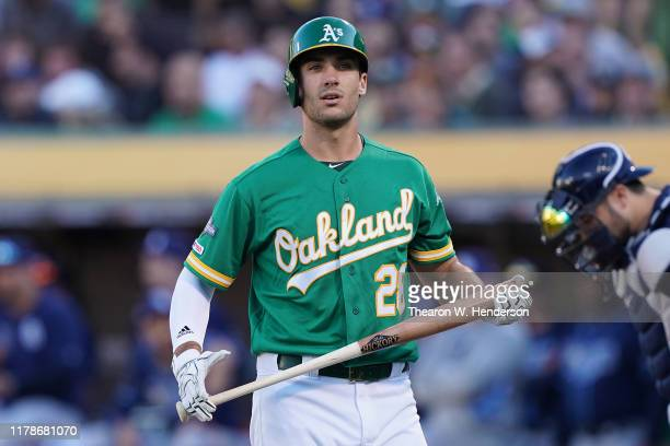 Matt Olson of the Oakland Athletics reacts after striking out to Charlie Morton of the Tampa Bay Rays during the American League Wild Card Game at...