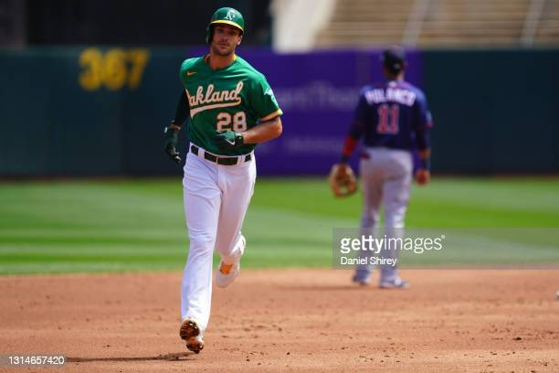 Matt Olson of the Oakland Athletics rounds the bases after a home run during the game against the Minnesota Twins at RingCentral Coliseum on April...