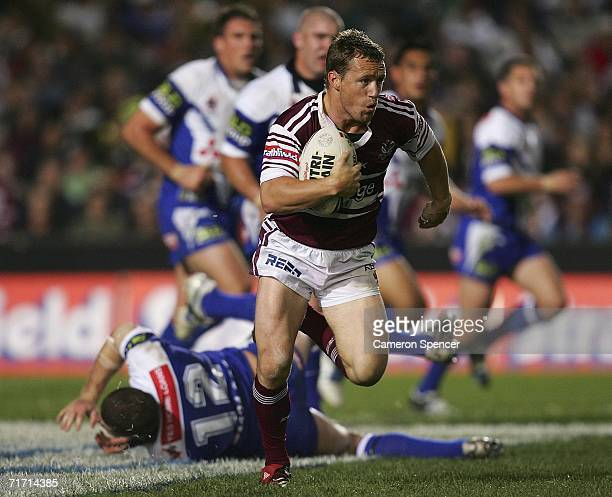 Matt Orford of the Sea Eagles makes a break during the round 25 NRL match between the Manly Warringah Sea Eagles and the Bulldogs at Brookvale Oval...