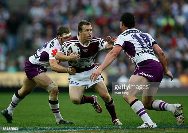 Matt Orford of the Sea Eagles takes on the Storm defence during the NRL Grand Final match between the Manly Warringah Sea Eagles and the Melbourne...