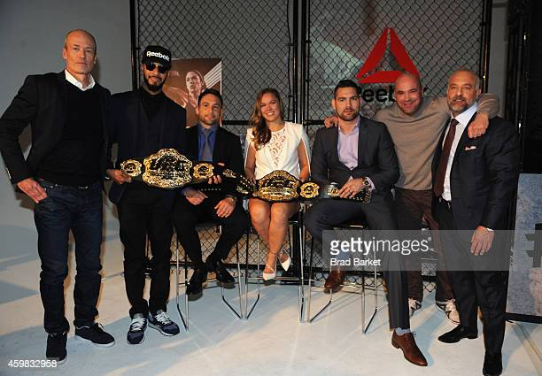 Matt O'Toole Swizz Beatz Frankie Edgar Ronda Rousey Chris Weidman Dana White and Lorenzo Fertitta appear at Reebok and UFC Announce LongTerm...