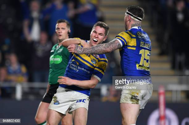 Matt Parcell of Leeds celebrates scoring a second half during the BetFred Super League match between Hull FC and Leeds Rhinos at KCOM Stadium on...