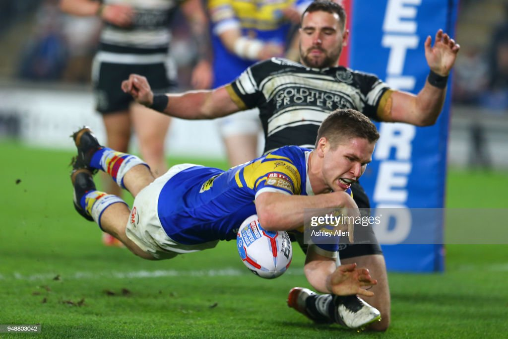Matt Parcell of Leeds Rhinos scores a Try during the BetFred Super League match between Hull FC and Leeds Rhinos at the KCOM Stadium on April 19, 2018 in Hull, England.