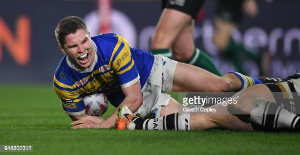 Matt Parcell of Leeds scores a second half during the BetFred Super League match between Hull FC and Leeds Rhinos at KCOM Stadium on April 19 2018 in...
