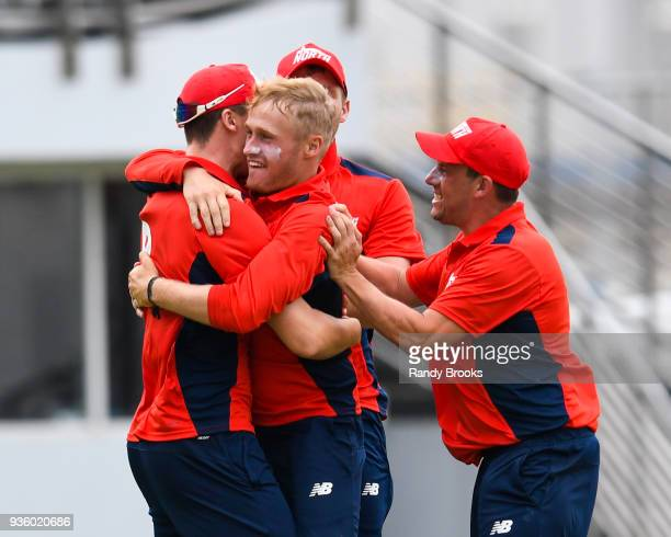 Matt Parkinson and Steven Mullaney of North celebrate the dismissal of Laurie Evans of South during the ECB North v South Series match Two at...