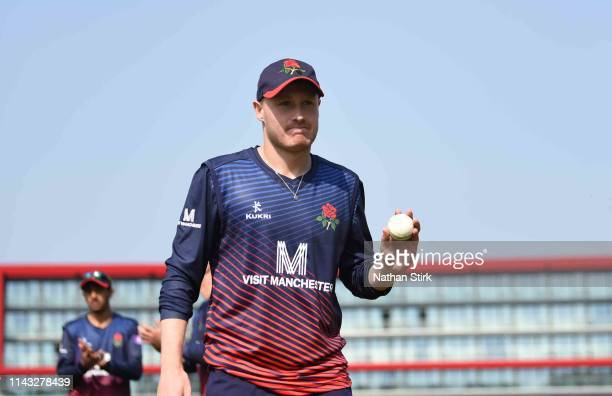Matt Parkinson is applauded off the pitch for getting 5 wickets during the Royal London One Day Cup match between Lancashire and Worcestershire at...