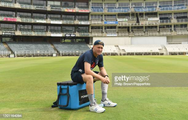 Matt Parkinson of England takes a break at the Wanderers during a training session before the fourth Test match against South Africa on January 22,...