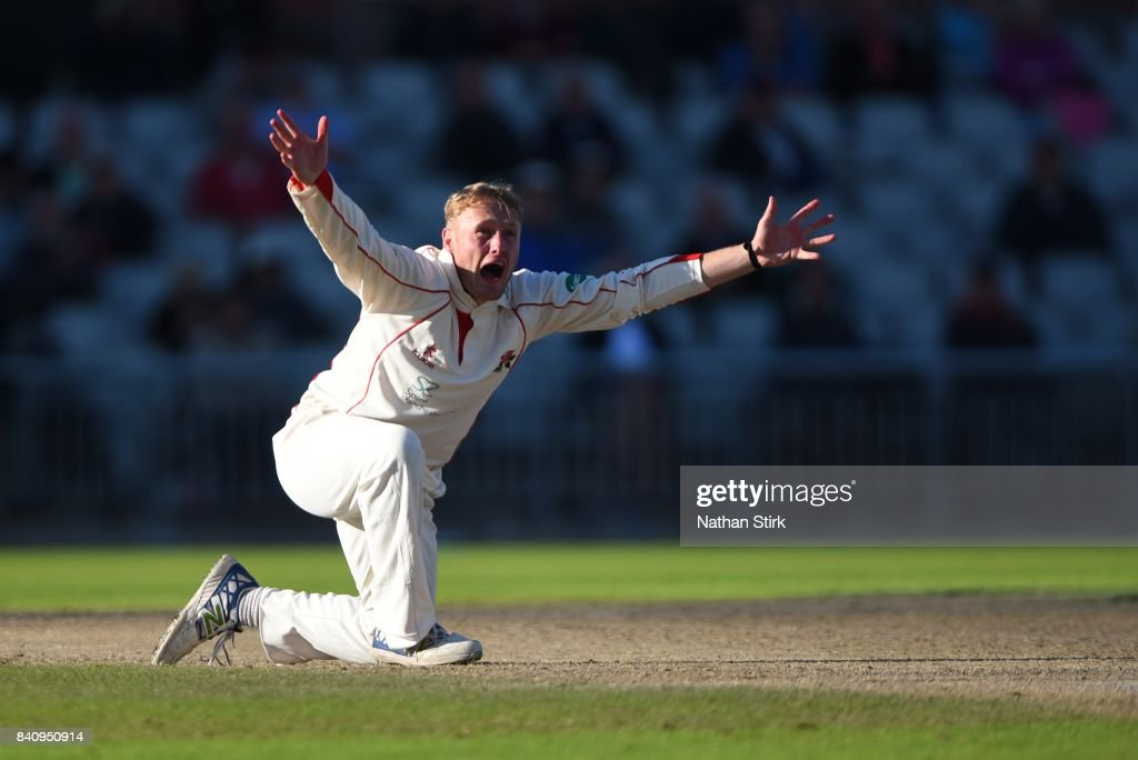 Matt Parkinson of Lancashire appeals during the County Championship Division One match between Lancashire and Warwickshire at Old Trafford on August 30, 2017 in Manchester, England.