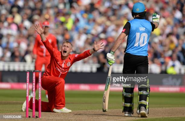 Matt Parkinson of Lancashire appeals during the Vitality T20 Blast first semifinal between Worcestershire Rapids vs Lancashire Lightnings at...
