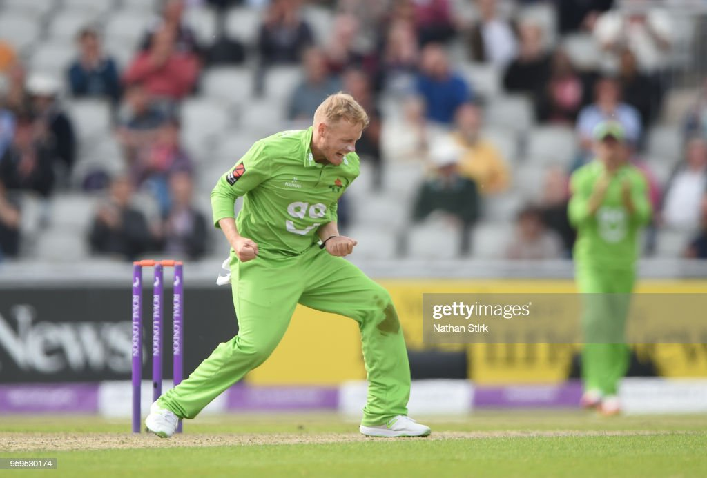 Matt Parkinson of Lancashire celebrates after getting a wicket during Royal London One-Day Cup match between Lancashire and Nottinghamshire at Old Trafford on May 17, 2018 in Manchester, England.