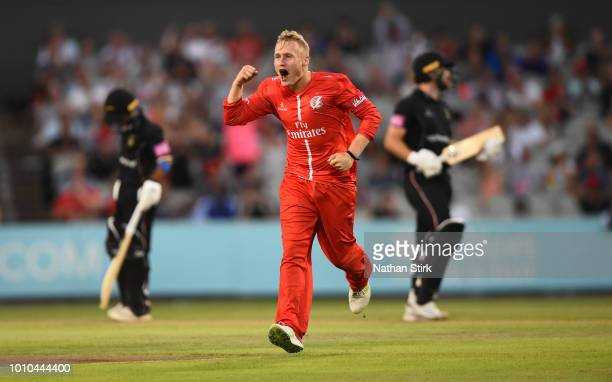 Matt Parkinson of Lancashire celebrates getting a wicket during the Vitality Blast match between Lancashire Lightning and Leicestershire Foxes at Old...