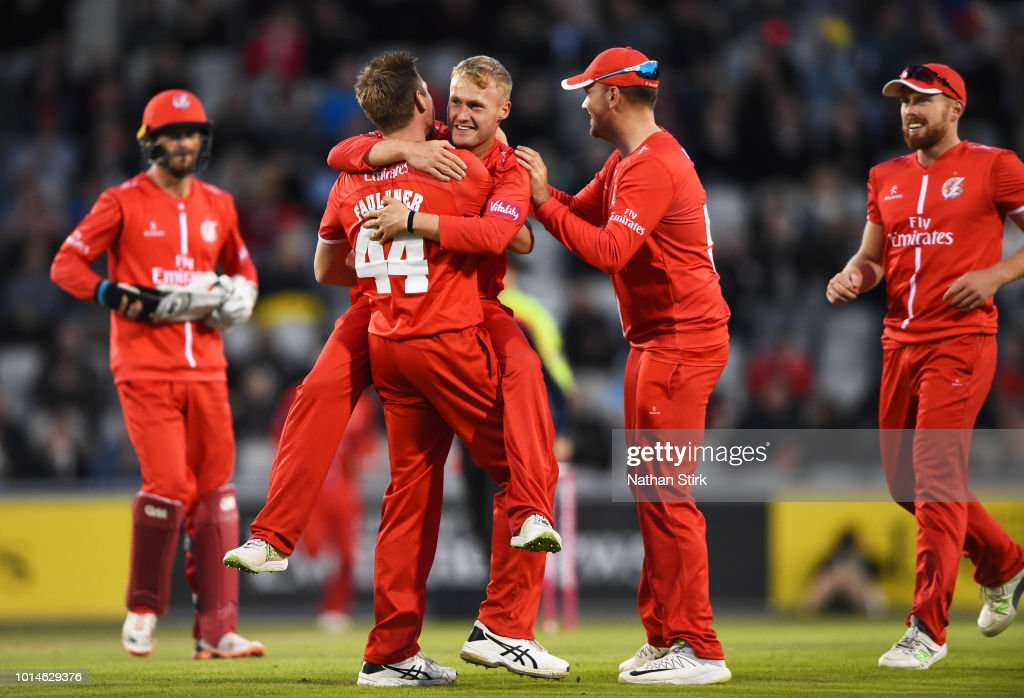Matt Parkinson of Lancashire celebrates getting a wicket during the Vitality Blast match between Lancashire Lightning and Birmingham Bears at Old Trafford on August 10, 2018 in Manchester, England.
