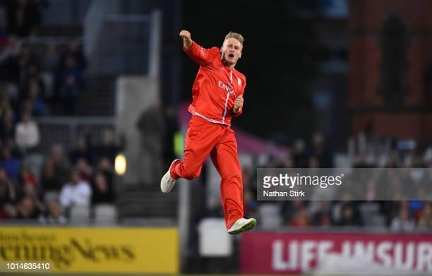 Matt Parkinson of Lancashire celebrates getting a wicket during the Vitality Blast match between Lancashire Lightning and Birmingham Bears at Old...