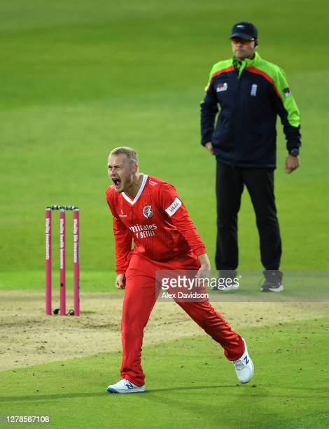 Matt Parkinson of Lancashire celebrates the wicket of Alex Hales during the Vitality T20 Blast Semi Final between Notts Outlaws and Lancashire...
