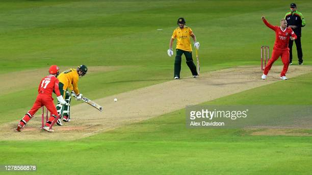 Matt Parkinson of Lancashire Lightning bowls Alex Hales of Notts Outlaws during the Vitality T20 Blast Semi Final between Notts Outlaws and...