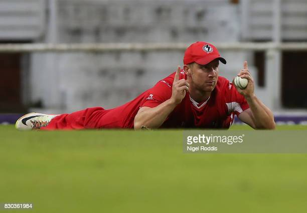 Matt Parkinson of Lancashire Lightning celebrates catching Safarez Ahmed of Yorkshire Vikings during the NatWest T20 Blast between Yorkshire Vikings...