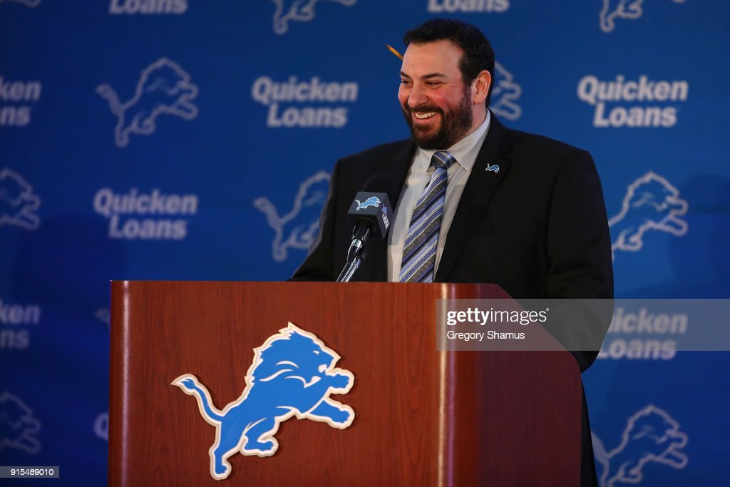 Matt Patricia speaks at a press conference after being hired as the head coach of the Detroit Lions at the Detroit Lions Practice Facility on February 7, 2018 in Allen Park, Michigan.