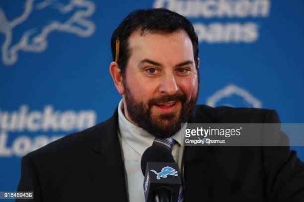 Matt Patricia speaks at a press conference after being hired as the head coach of the Detroit Lions at the Detroit Lions Practice Facility on...