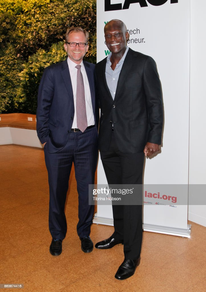 Matt Petersen and Peter Mensah attend the Los Angeles Cleantech Incubator celebration of new CEO Matt Petersen on October 19, 2017 in Los Angeles, California.