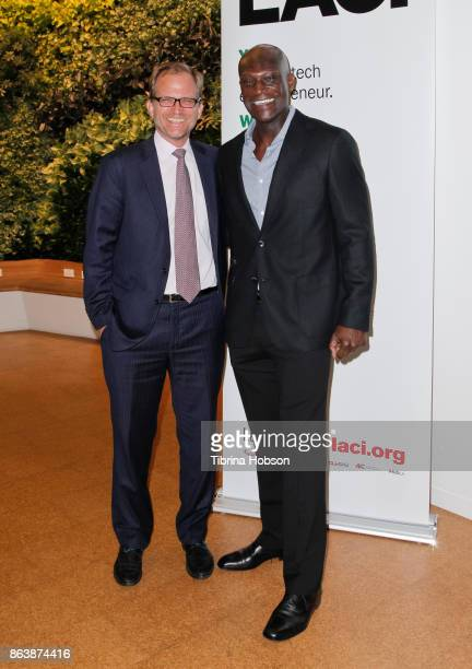 Matt Petersen and Peter Mensah attend the Los Angeles Cleantech Incubator celebration of new CEO Matt Petersen on October 19 2017 in Los Angeles...
