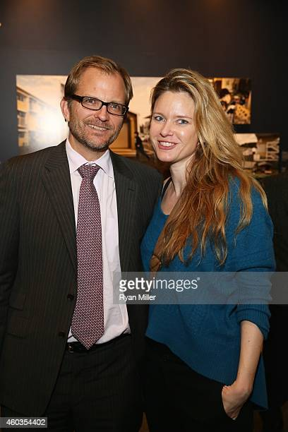 "Matt Petersen, Sustainability Chief City of Los Angeles and Justine Musk pose at the Annenberg Space for Photography Opening Reception for ""Sink or..."