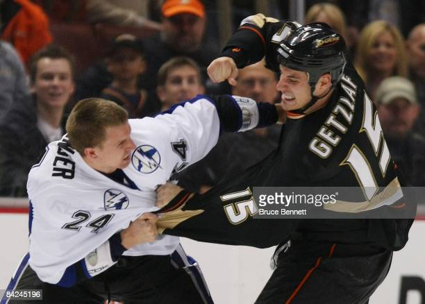 Matt Pettinger of the Tampa Bay Lightning fights with Ryan Getzlaf of the Anaheim Ducks on January 9 2009 at the Honda Center in Anaheim California