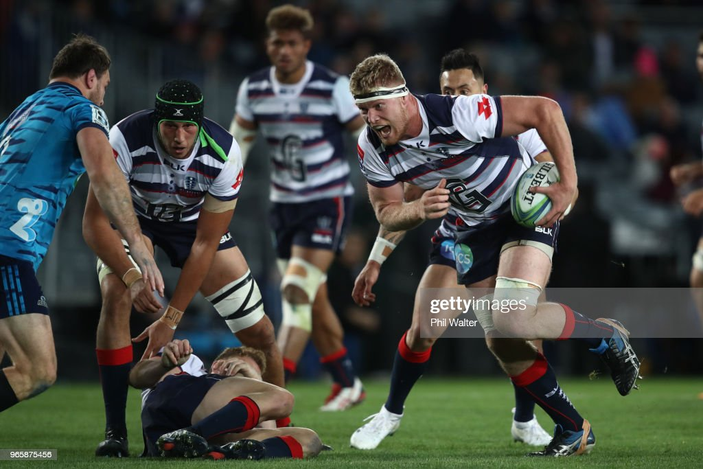 Matt Philip of the Rebels makes a break during the round 16 Super Rugby match between the Blues and the Rebels at Eden Park on June 2, 2018 in Auckland, New Zealand.