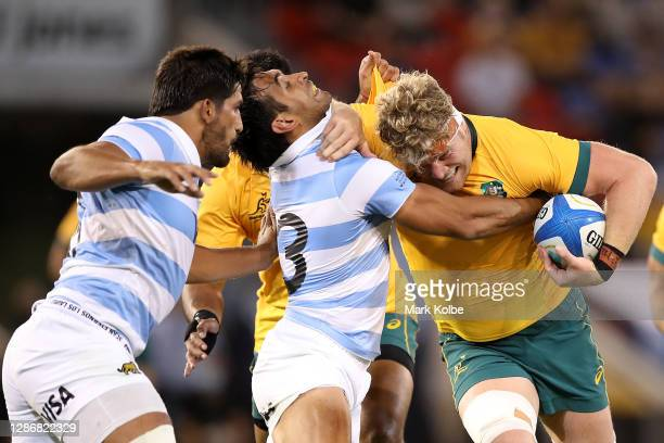 Matt Philip of the Wallabies in action during the 2020 Tri-Nations match between the Australian Wallabies and the Argentina Pumas at McDonald Jones...