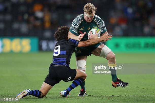 Matt Philip of the Wallabies is tackled by Felipe Ezcurra of the Pumas during the 2020 Tri-Nations match between the Australian Wallabies and the...