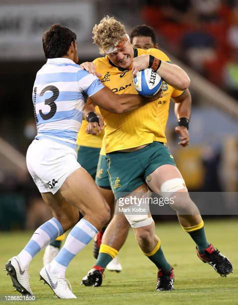 Matt Philip of the Wallabies is tackled during the 2020 Tri-Nations match between the Australian Wallabies and the Argentina Pumas at McDonald Jones...