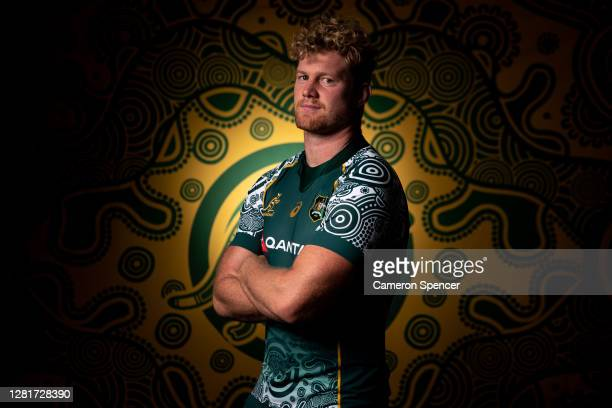 Matt Philip of the Wallabies poses during the Australian Wallabies 2020 First Nations Jersey portrait session on October 22 2020 in the Hunter Valley...