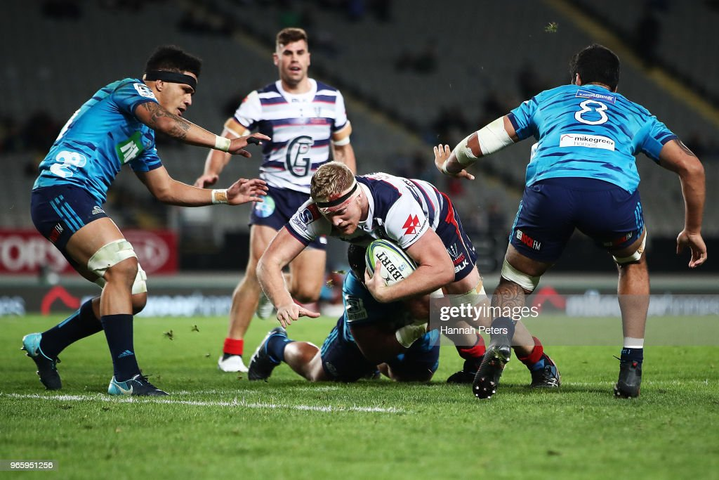Matt Philipm of the Rebels charges forward during the round 16 Super Rugby match between the Blues and the Rebels at Eden Park on June 2, 2018 in Auckland, New Zealand.