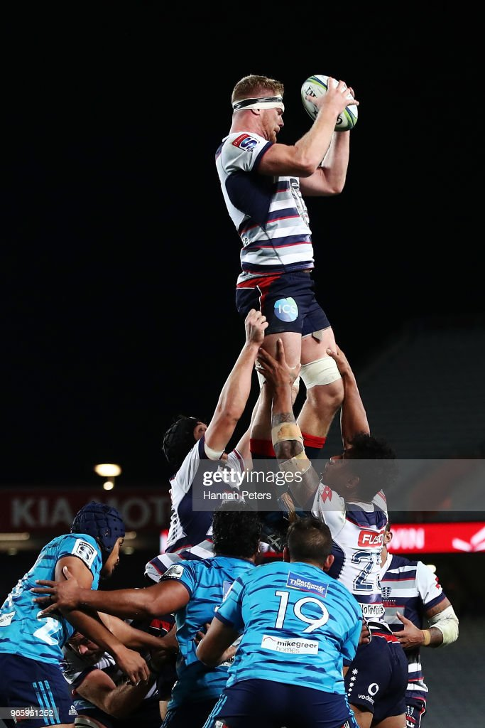 Matt Philipm of the Rebels wins lineout ball during the round 16 Super Rugby match between the Blues and the Rebels at Eden Park on June 2, 2018 in Auckland, New Zealand.