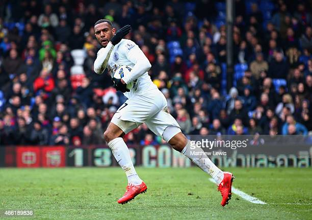 Matt Phillips of QPR celebrates his goal during the Barclays Premier League match between Crystal Palace and Queens Park Rangers at Selhurst Park on...