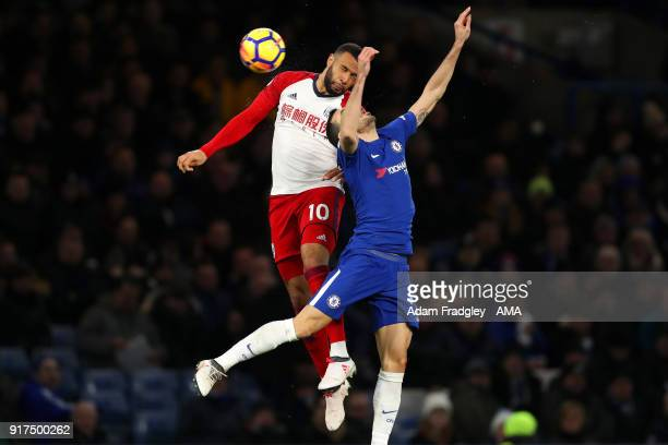 Matt Phillips of West Bromwich Albion and Davide Zappacosta of Chelsea during the Premier League match between Chelsea and West Bromwich Albion at...