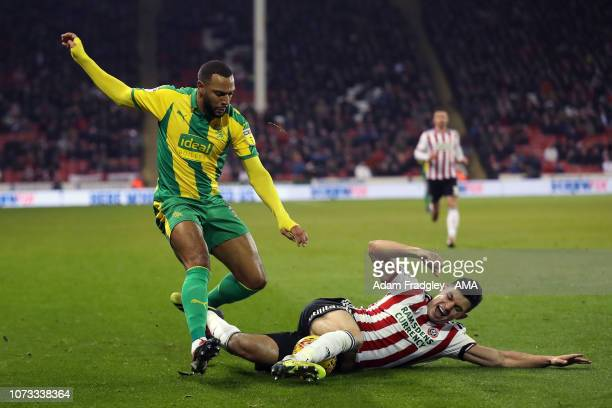 Matt Phillips of West Bromwich Albion and John Egan of Sheffield United during the Sky Bet Championship match between Sheffield United and West...