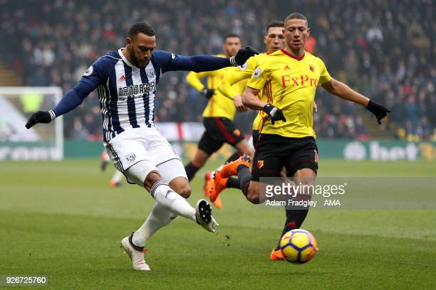 Matt Phillips of West Bromwich Albion and Richarlison of Watford during the Premier League match between Watford and West Bromwich Albion at Vicarage...