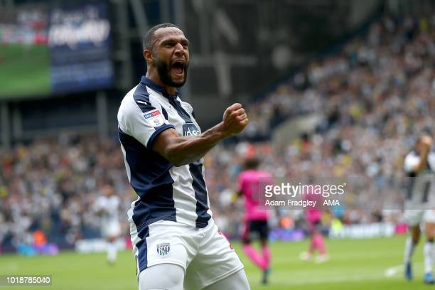 Matt Phillips of West Bromwich Albion celebrates after scoring a goal to make it 1-0 during the Sky Bet Championship match between West Bromwich...
