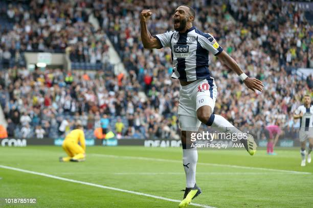Matt Phillips of West Bromwich Albion celebrates after scoring a goal to make it 61 during the Sky Bet Championship match between West Bromwich...