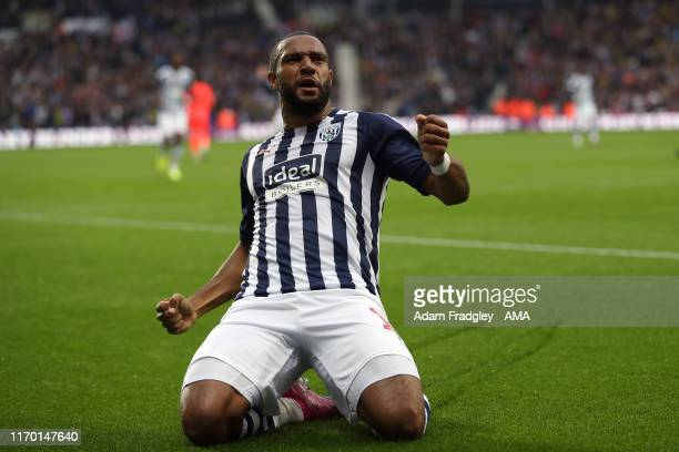Matt Phillips of West Bromwich Albion celebrates after scoring a goal to make it 1-1 during the Sky Bet Championship match between West Bromwich...