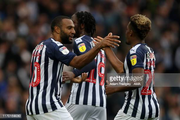Matt Phillips of West Bromwich Albion celebrates after scoring a goal to make it 32 with Grady Diangana of West Bromwich Albion during the Sky Bet...