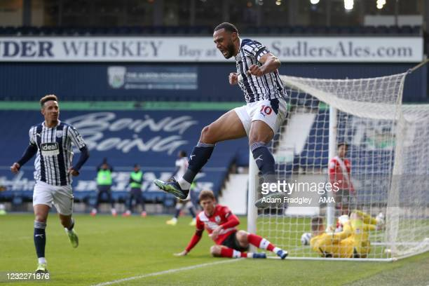 Matt Phillips of West Bromwich Albion celebrates after scoring a goal to make it 2-0 during the Premier League match between West Bromwich Albion and...