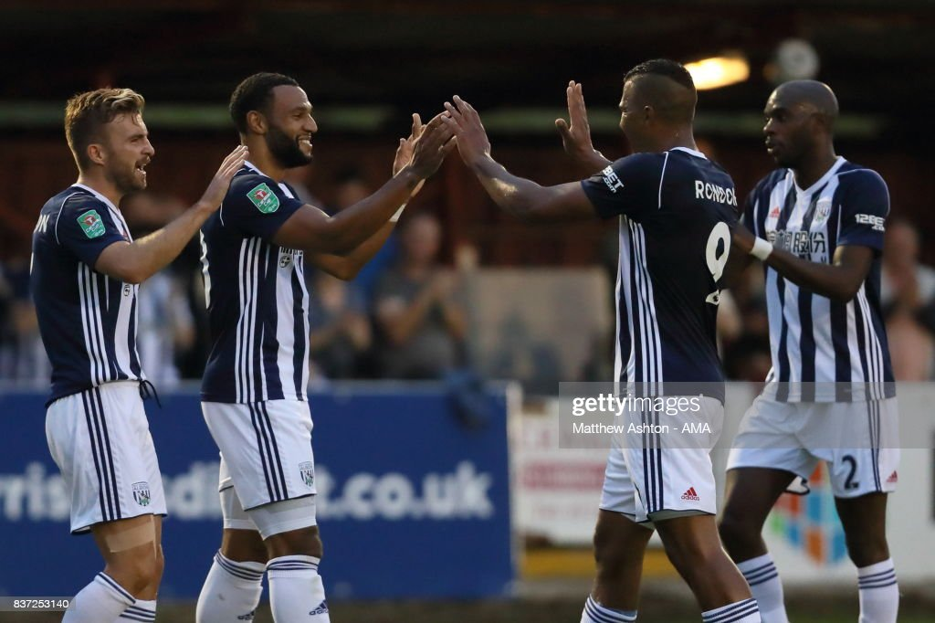 Matt Phillips of West Bromwich Albion celebrates after scoring a goal to make it 0-2 during the Carabao Cup Second Round match between Accrington Stanley and West Bromwich Albion at Wham Stadium on August 22, 2017 in Accrington, England.