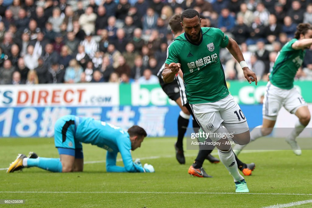 Matt Phillips of West Bromwich Albion celebrates after scoring a goal to make it 0-1 during the Premier League match between Newcastle United and West Bromwich Albion at St. James Park on April 28, 2018 in Newcastle upon Tyne, England.