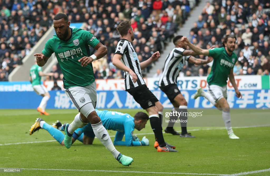 Matt Phillips of West Bromwich Albion celebrates after scoring during the Premier League match between Newcastle United and West Bromwich Albion at St. James Park on April 28, 2018 in Newcastle upon Tyne, England.