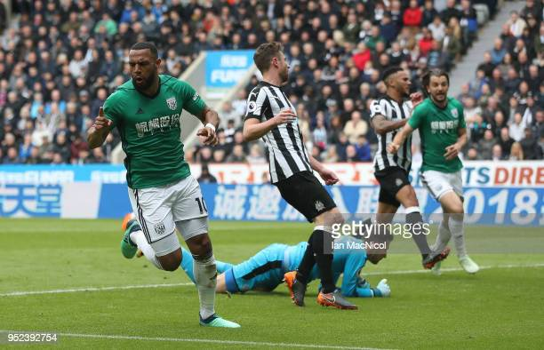 Matt Phillips of West Bromwich Albion celebrates after scoring during the Premier League match between Newcastle United and West Bromwich Albion at...