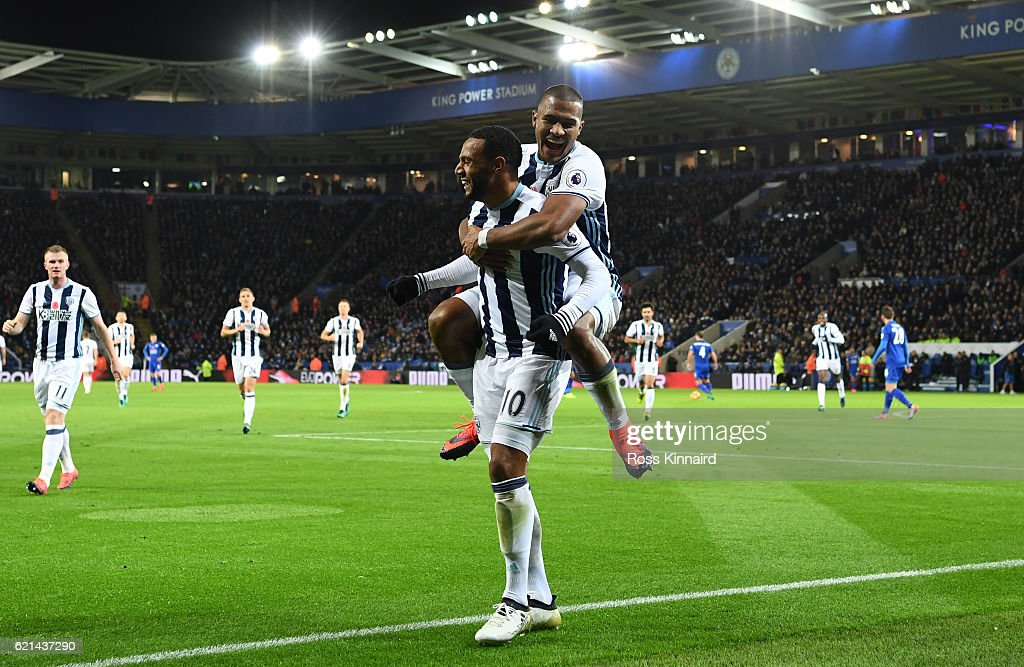 Matt Phillips of West Bromwich Albion celebrates after scoring his sides second goal with Jose Salomon Rondon of West Bromwich Albion during the Premier League match between Leicester City and West Bromwich Albion at The King Power Stadium on November 6, 2016 in Leicester, England.