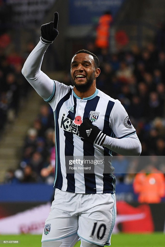 Matt Phillips of West Bromwich Albion celebrates after scoring his sides second goal during the Premier League match between Leicester City and West Bromwich Albion at The King Power Stadium on November 6, 2016 in Leicester, England.